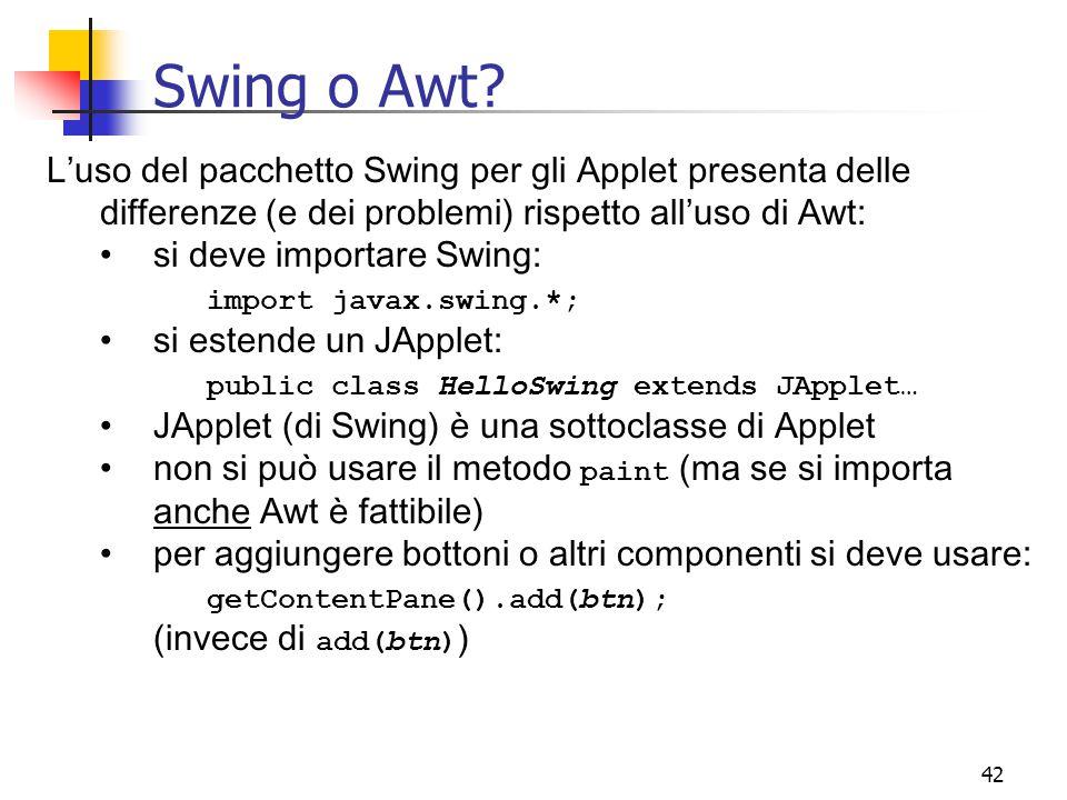 Swing o Awt L'uso del pacchetto Swing per gli Applet presenta delle differenze (e dei problemi) rispetto all'uso di Awt: