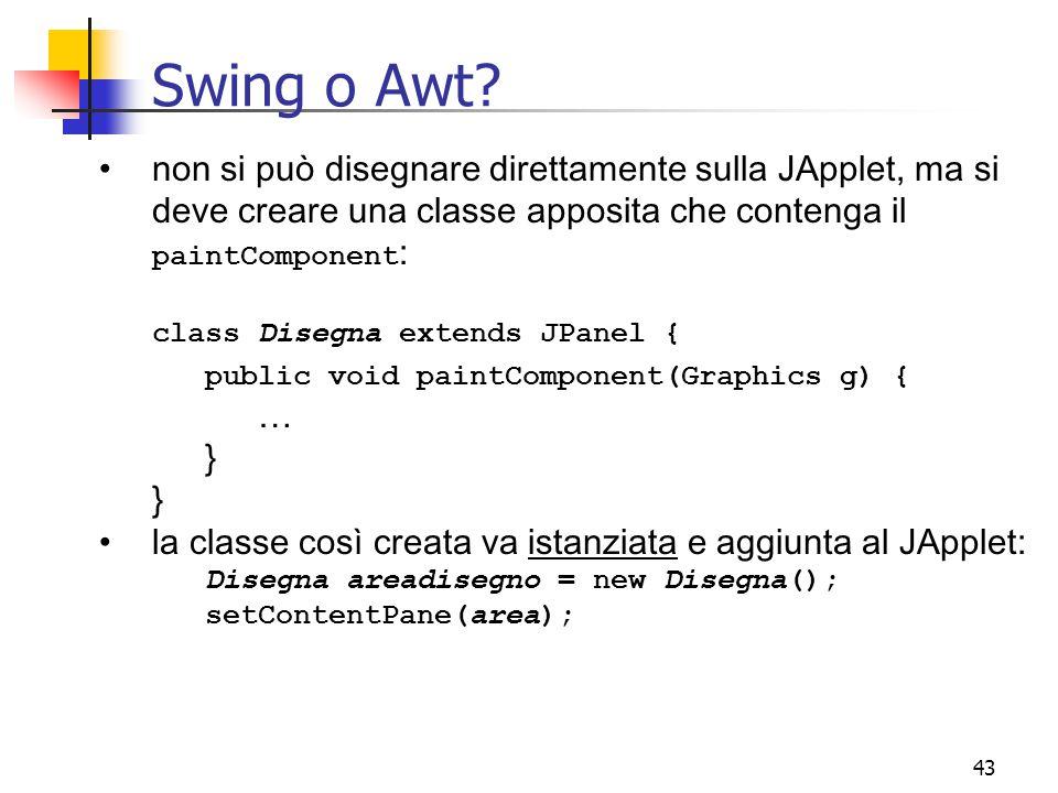 Swing o Awt non si può disegnare direttamente sulla JApplet, ma si deve creare una classe apposita che contenga il paintComponent:
