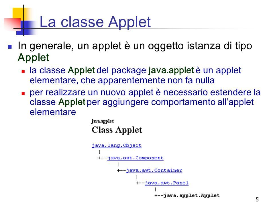 La classe Applet In generale, un applet è un oggetto istanza di tipo Applet.