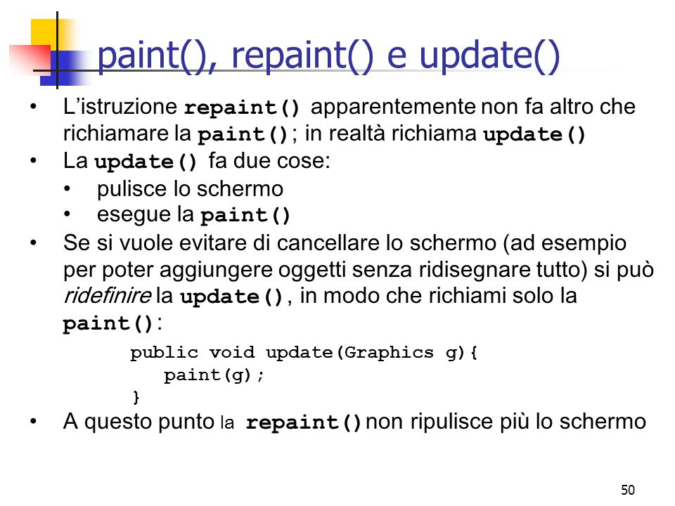 paint(), repaint() e update()