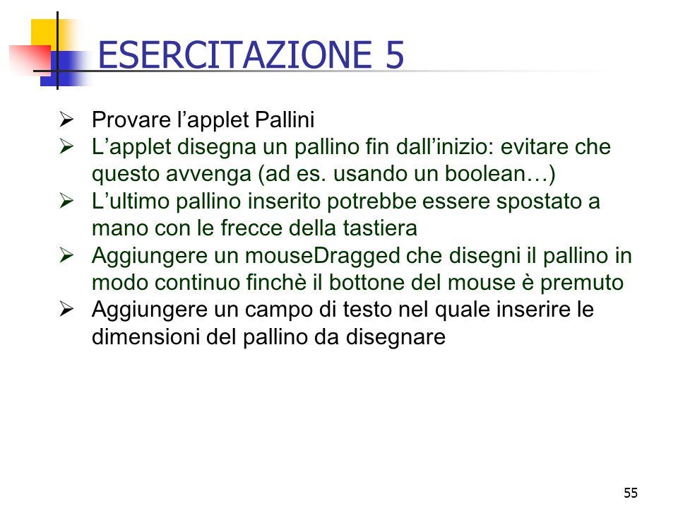 ESERCITAZIONE 5 Provare l'applet Pallini