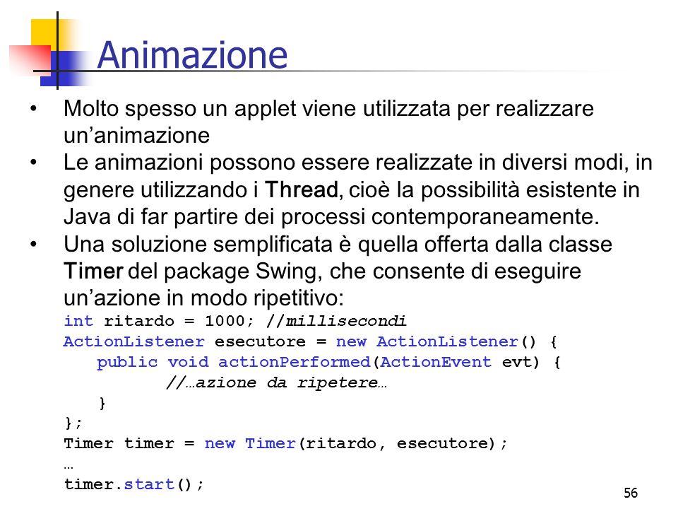 Animazione Molto spesso un applet viene utilizzata per realizzare un'animazione.
