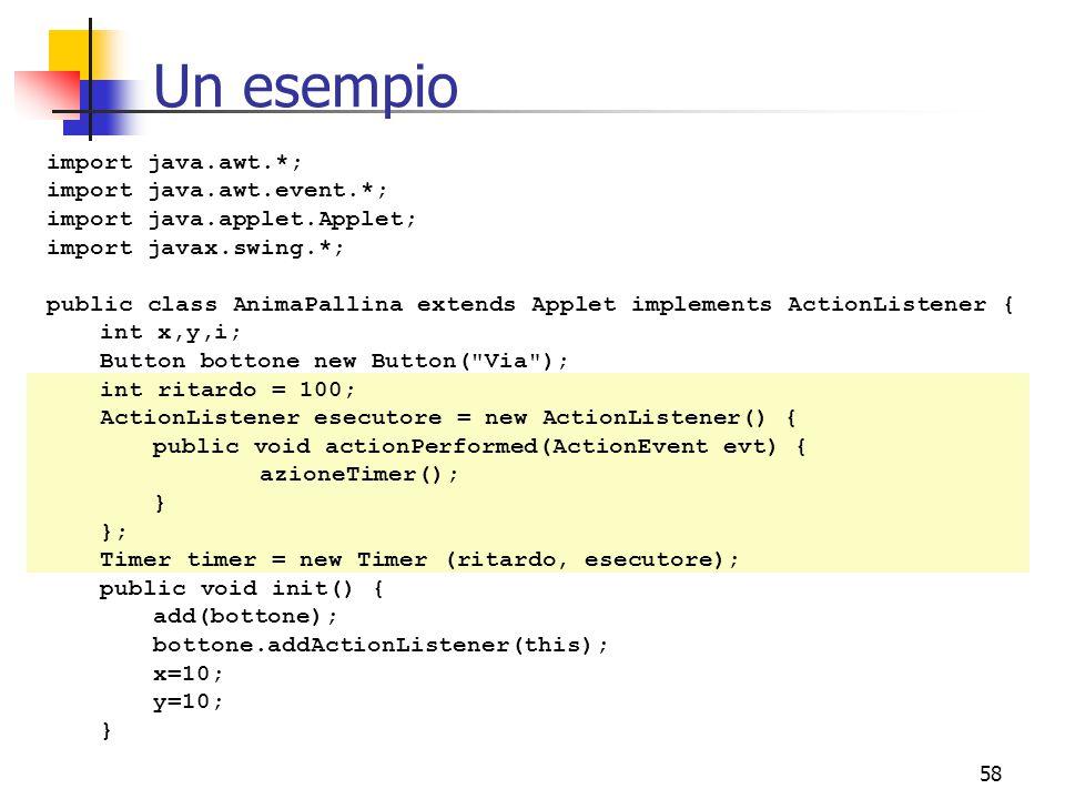Un esempio import java.awt.*; import java.awt.event.*;