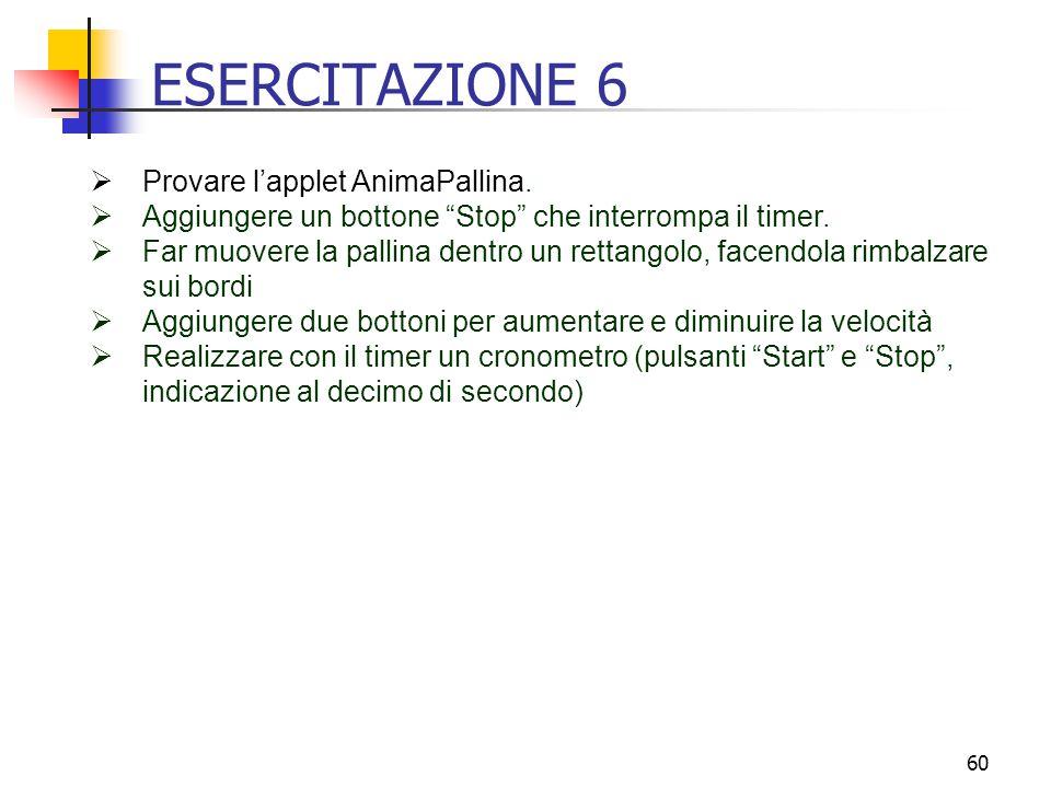 ESERCITAZIONE 6 Provare l'applet AnimaPallina.