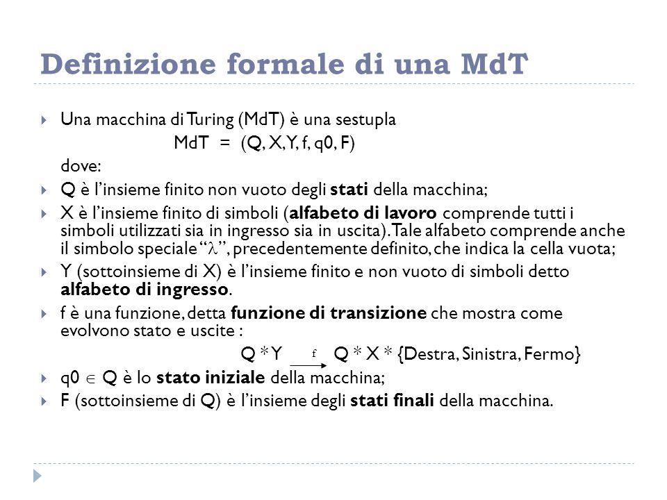 Definizione formale di una MdT
