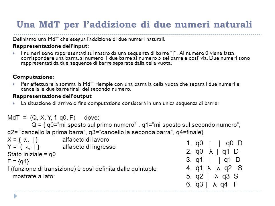 Una MdT per l'addizione di due numeri naturali
