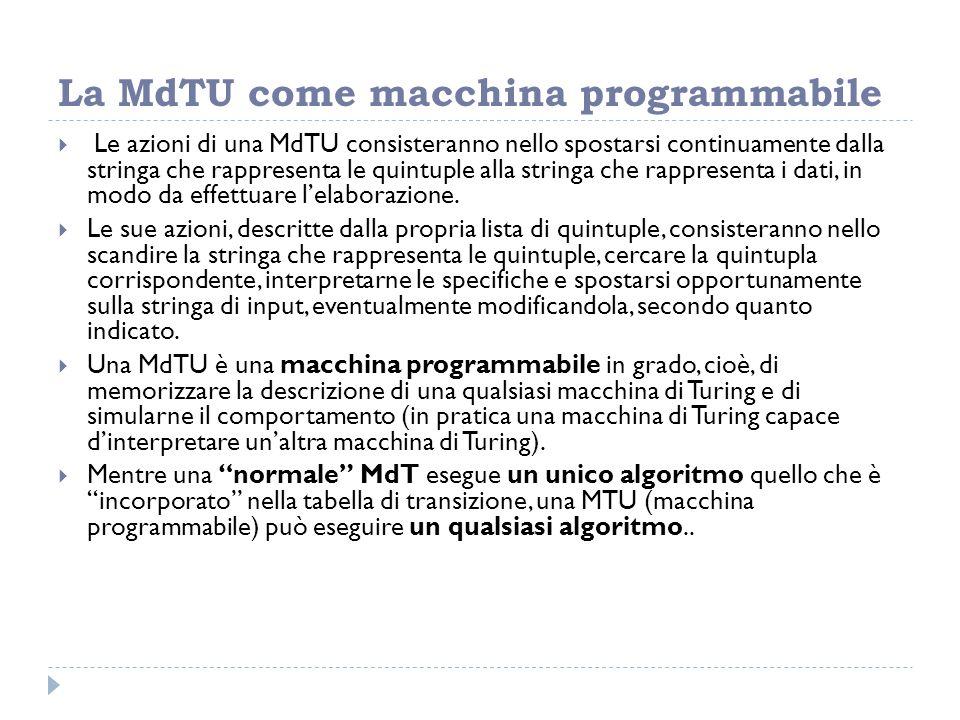 La MdTU come macchina programmabile