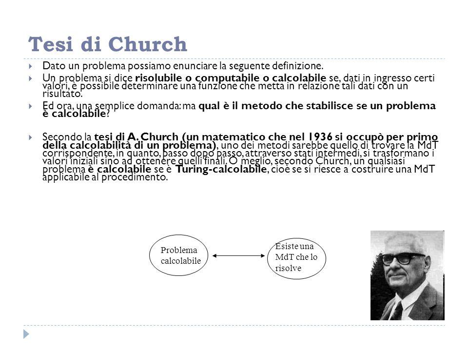 Tesi di Church Dato un problema possiamo enunciare la seguente definizione.