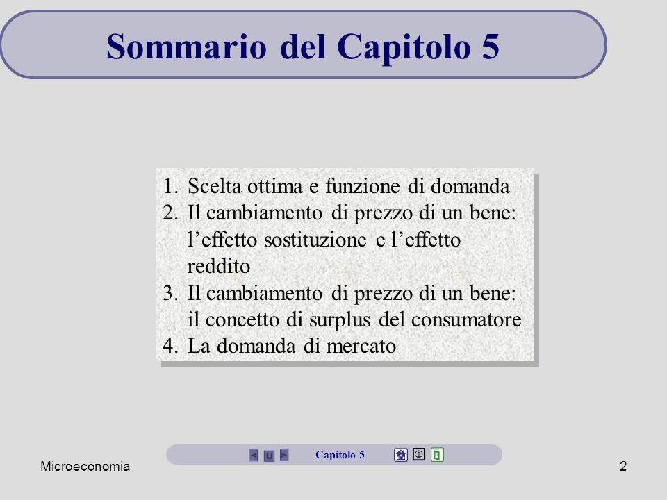 Sommario del Capitolo 5 Scelta ottima e funzione di domanda