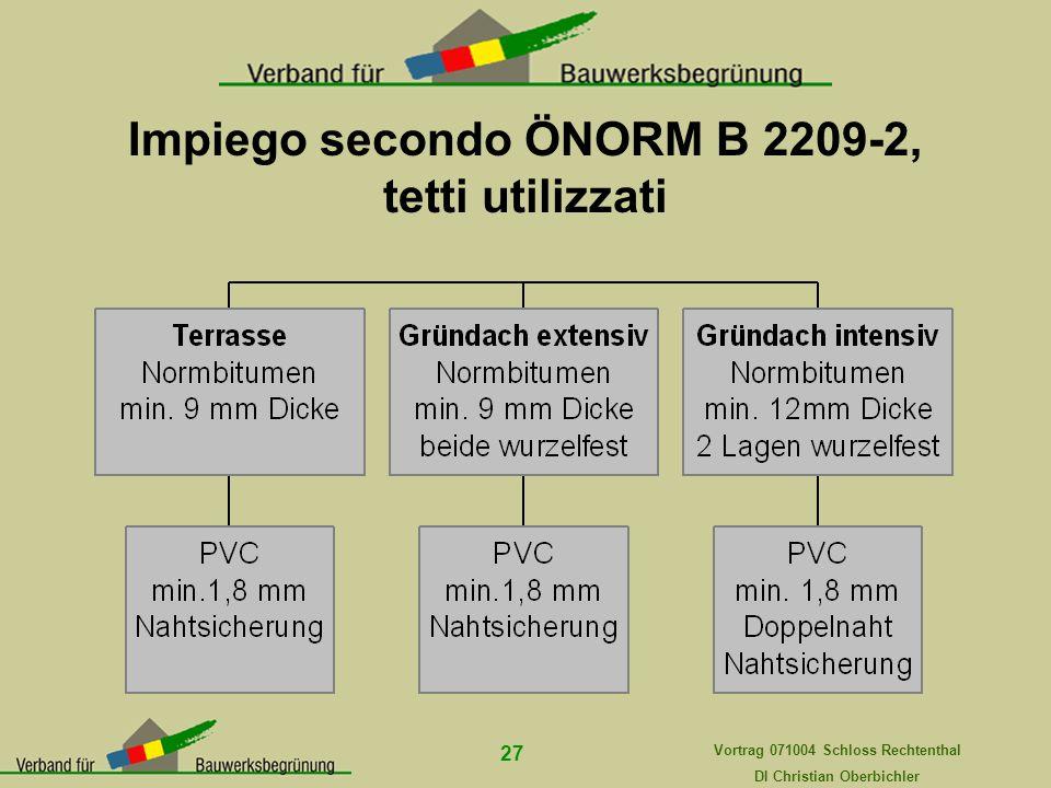 Impiego secondo ÖNORM B 2209-2, tetti utilizzati