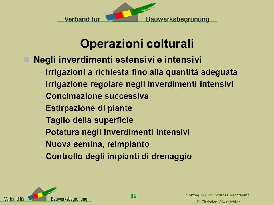 Operazioni colturali Negli inverdimenti estensivi e intensivi