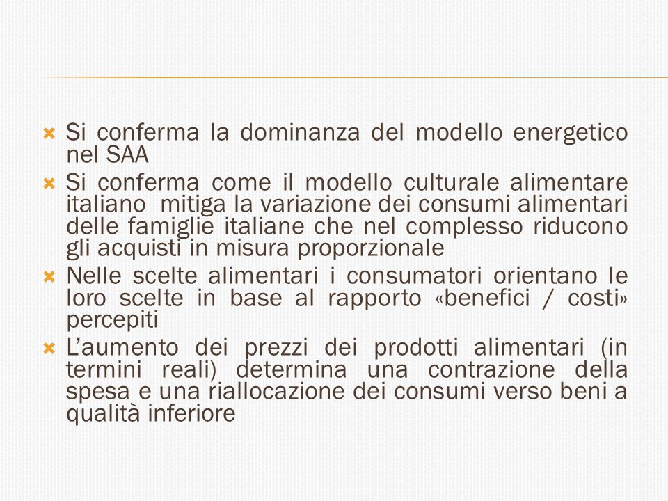 Si conferma la dominanza del modello energetico nel SAA
