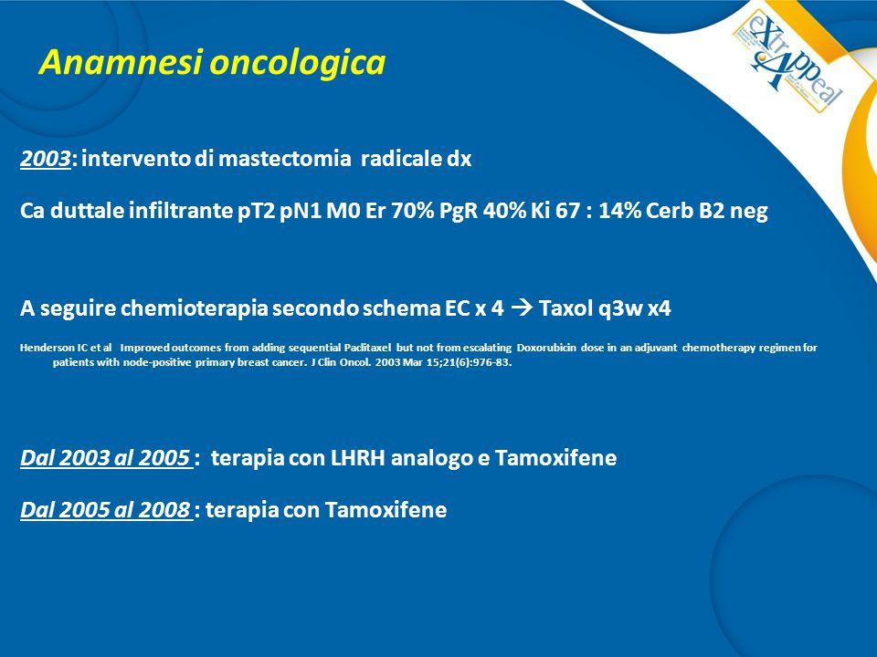 Anamnesi oncologica 2003: intervento di mastectomia radicale dx