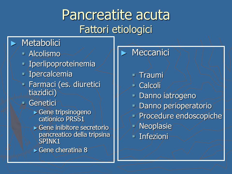 Pancreatite acuta Fattori etiologici