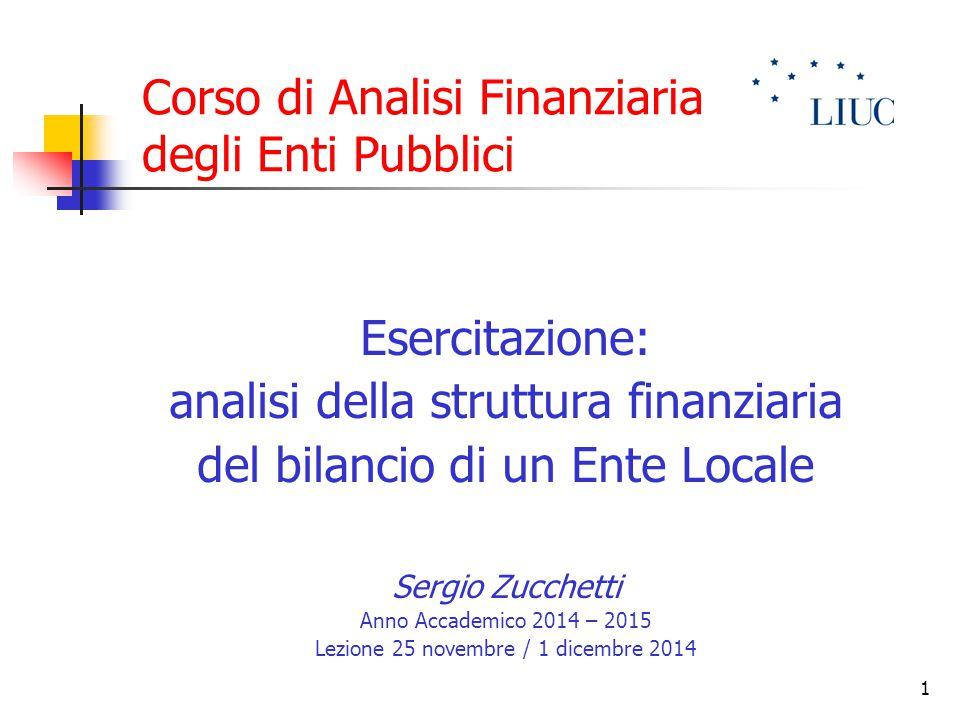 Corso di Analisi Finanziaria degli Enti Pubblici