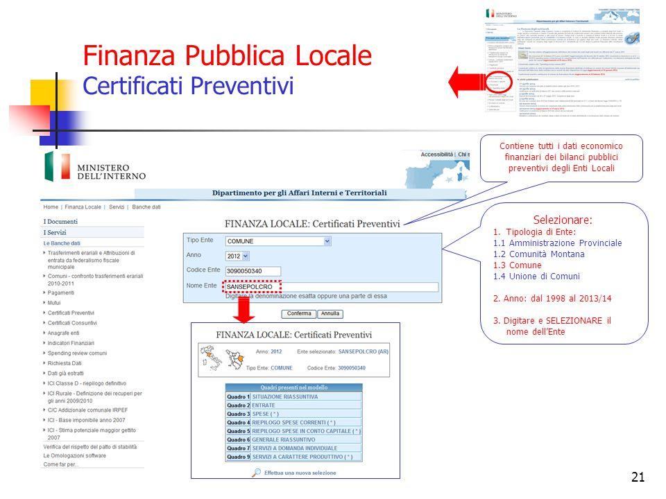 Finanza Pubblica Locale Certificati Preventivi