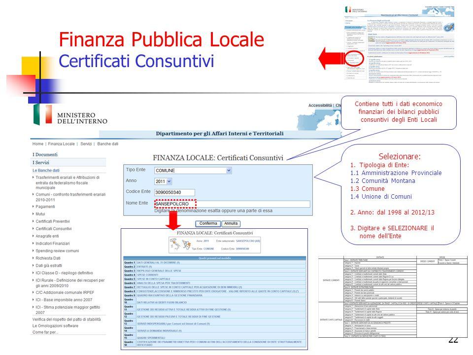 Finanza Pubblica Locale Certificati Consuntivi