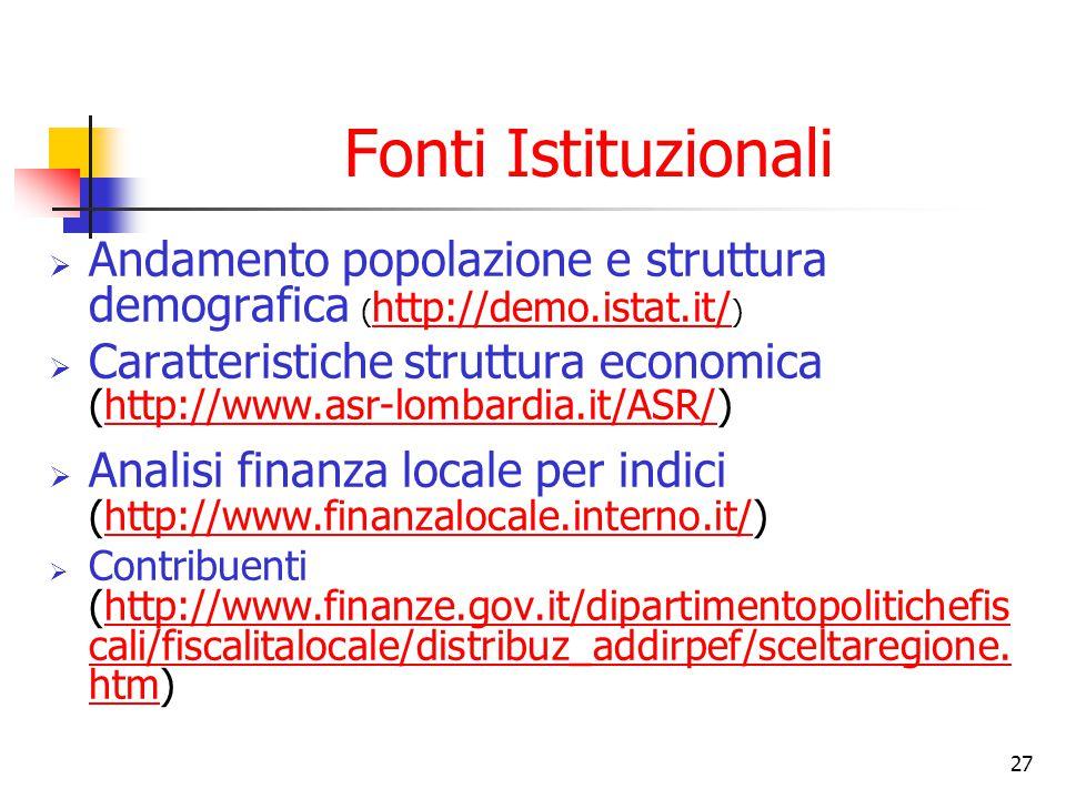 Fonti Istituzionali Andamento popolazione e struttura demografica (http://demo.istat.it/)