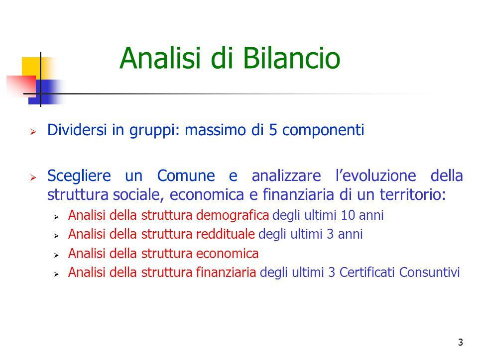 Analisi di Bilancio Dividersi in gruppi: massimo di 5 componenti
