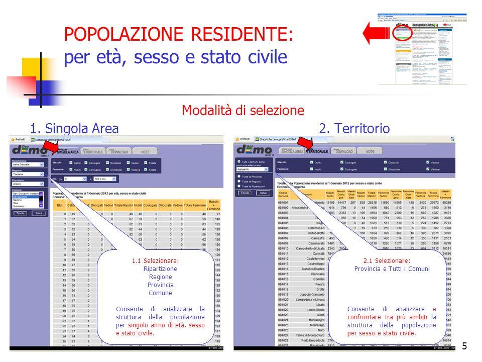 POPOLAZIONE RESIDENTE: per età, sesso e stato civile