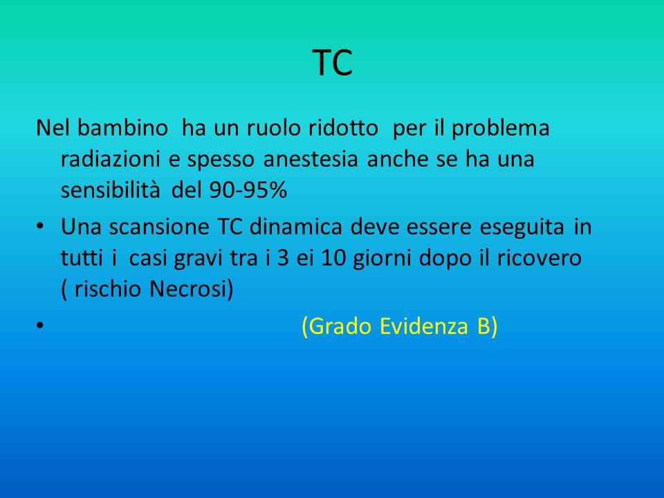 TC Nel bambino ha un ruolo ridotto per il problema radiazioni e spesso anestesia anche se ha una sensibilità del 90-95%