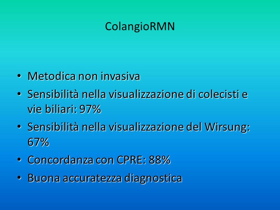 ColangioRMN Metodica non invasiva. Sensibilità nella visualizzazione di colecisti e vie biliari: 97%