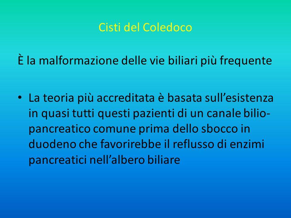 Cisti del Coledoco È la malformazione delle vie biliari più frequente.