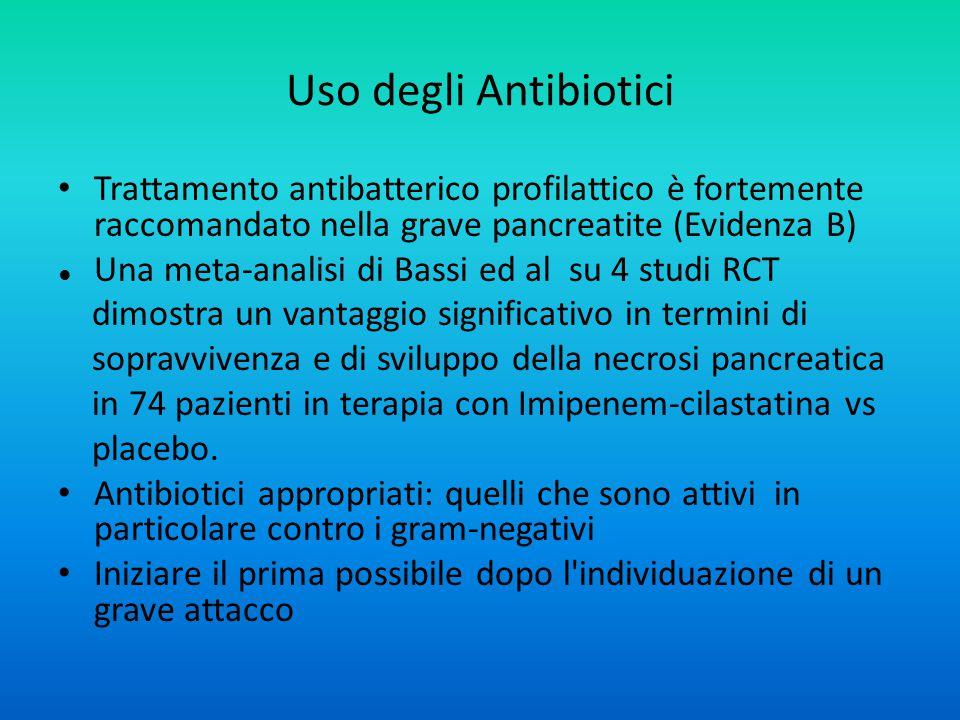 Uso degli Antibiotici Trattamento antibatterico profilattico è fortemente raccomandato nella grave pancreatite (Evidenza B)