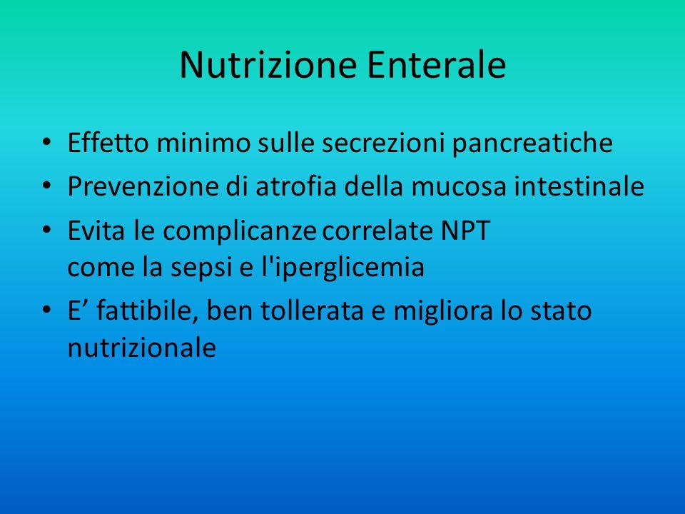 Nutrizione Enterale Effetto minimo sulle secrezioni pancreatiche