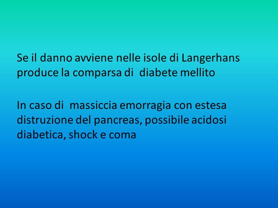 Se il danno avviene nelle isole di Langerhans produce la comparsa di diabete mellito