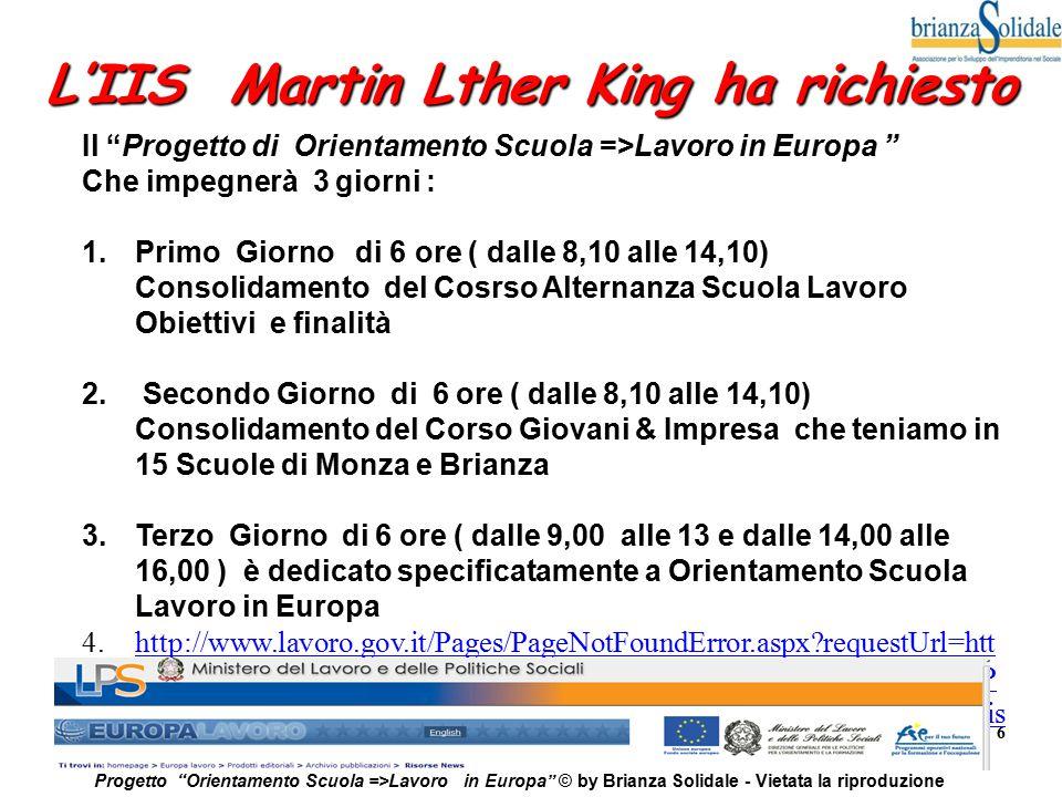 L'IIS Martin Lther King ha richiesto