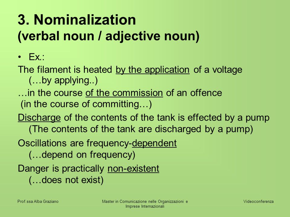 3. Nominalization (verbal noun / adjective noun)
