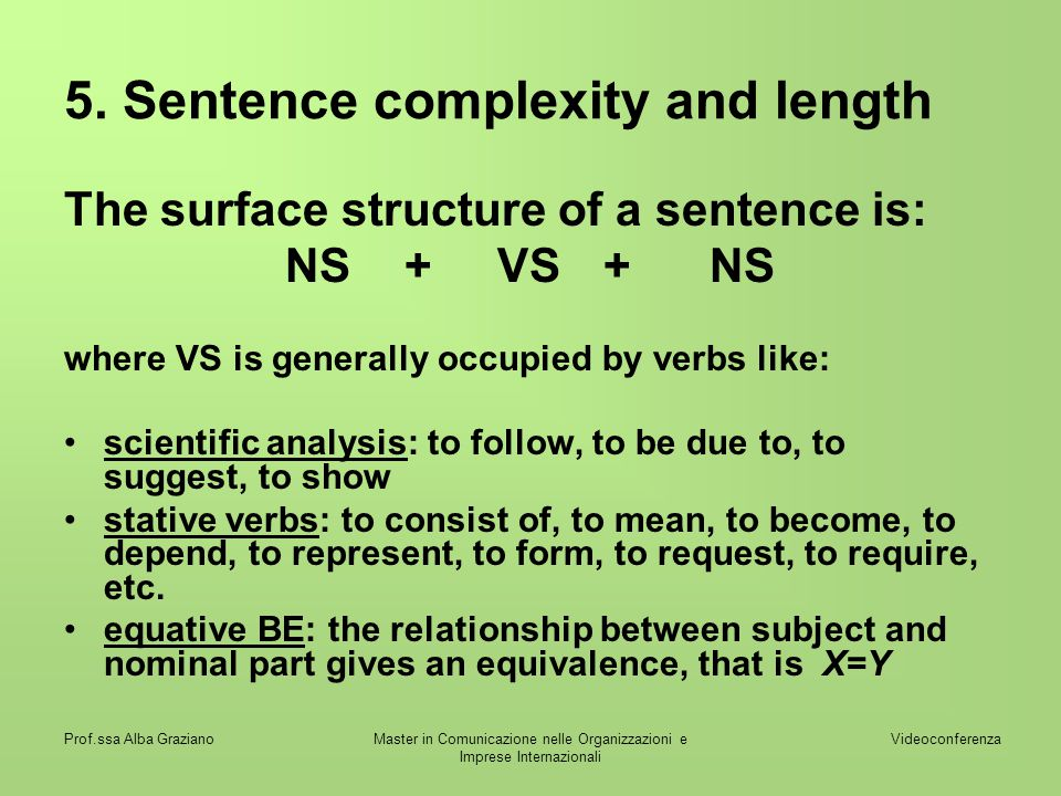 5. Sentence complexity and length