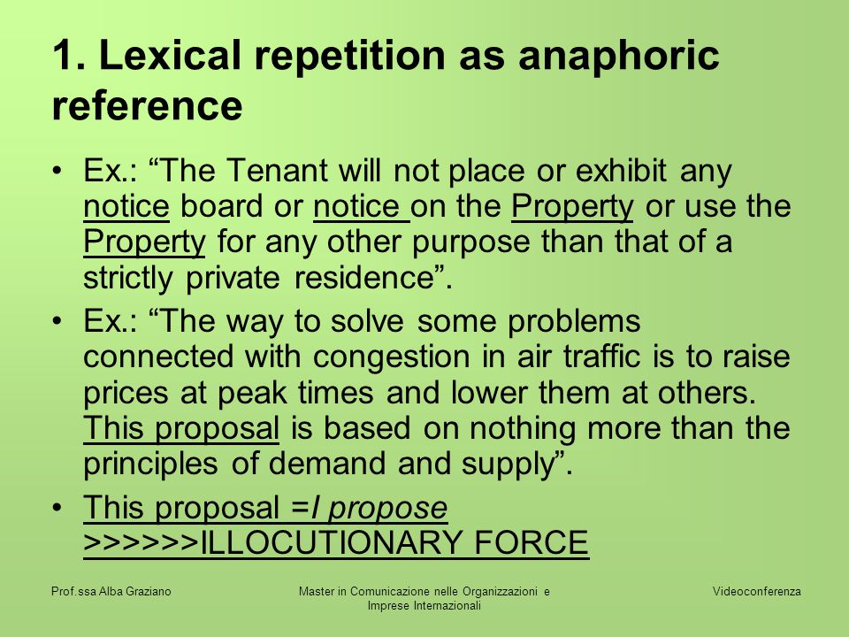 1. Lexical repetition as anaphoric reference