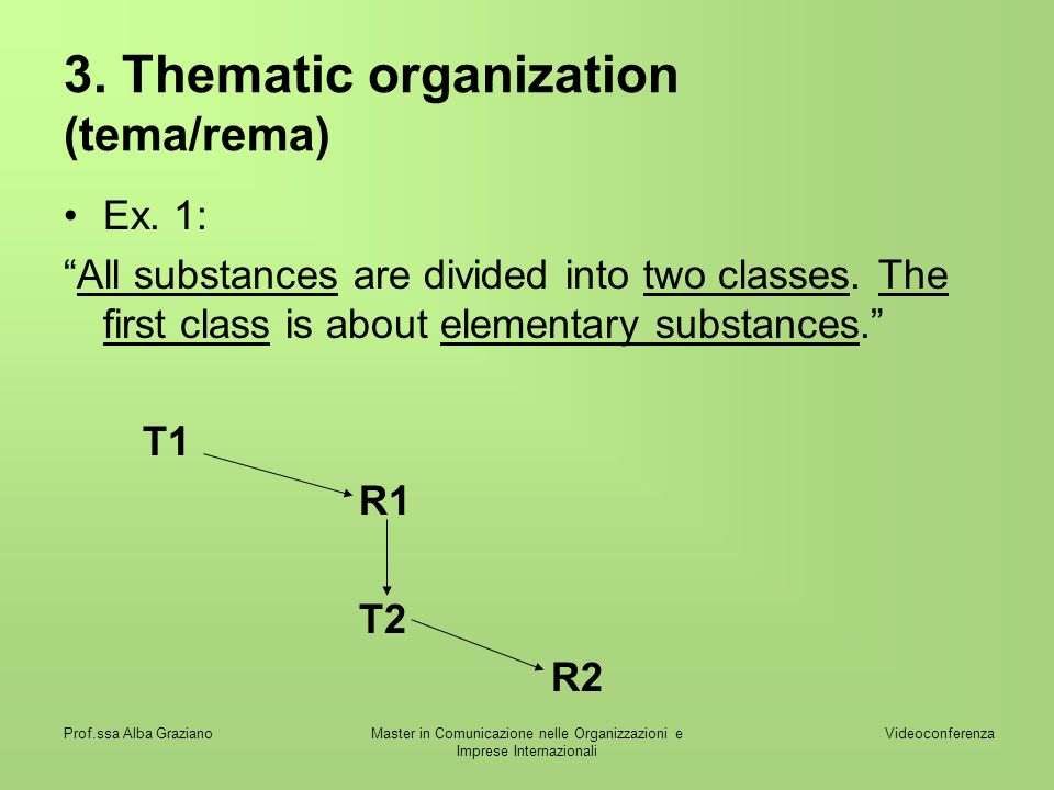 3. Thematic organization (tema/rema)