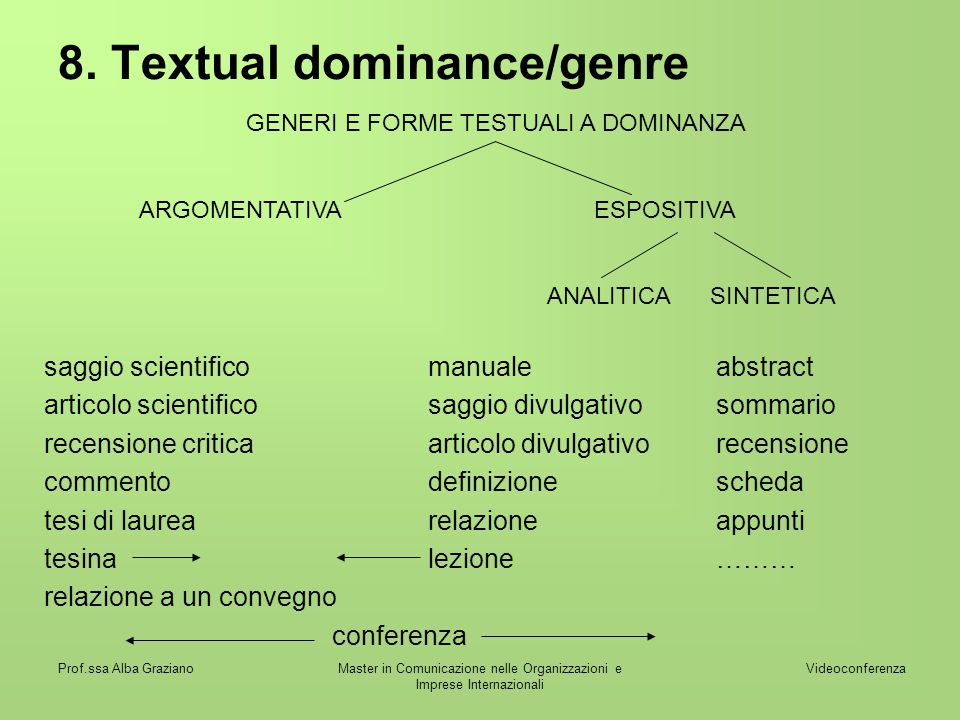8. Textual dominance/genre