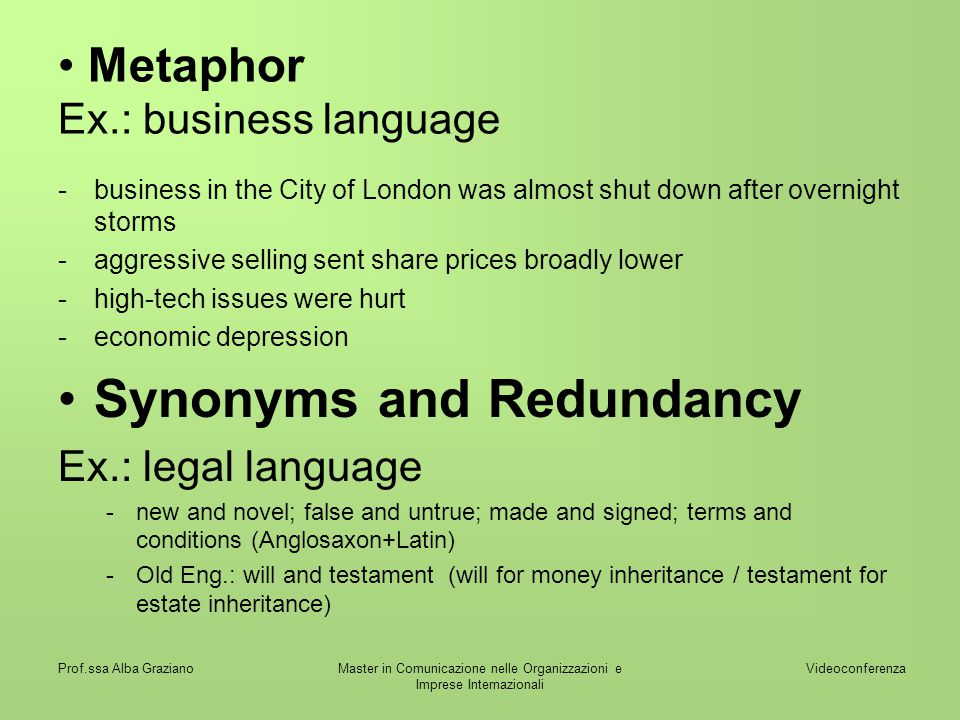 Metaphor Ex.: business language