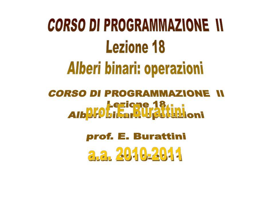 CORSO DI PROGRAMMAZIONE II Alberi binari: operazioni