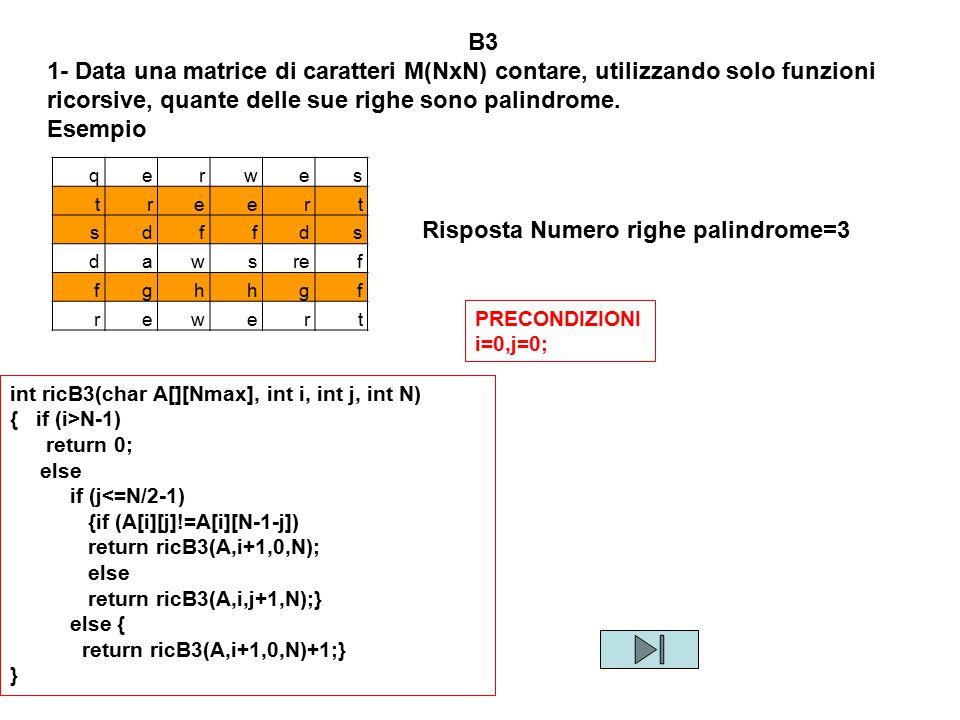 Risposta Numero righe palindrome=3