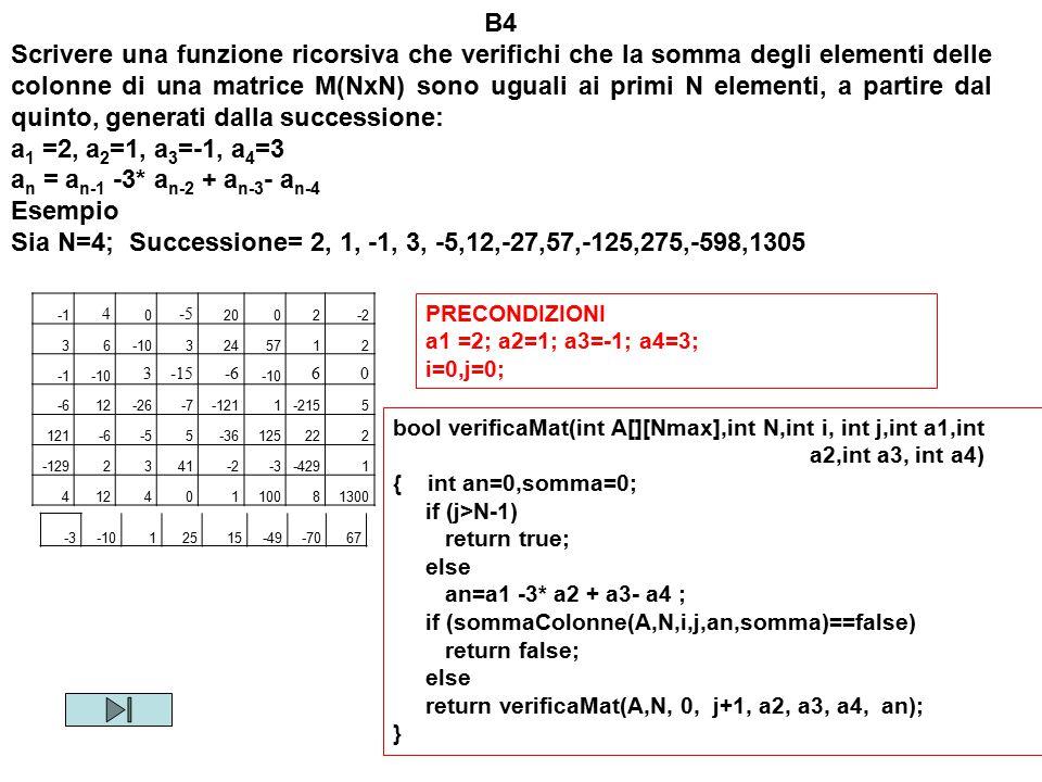 Sia N=4; Successione= 2, 1, -1, 3, -5,12,-27,57,-125,275,-598,1305