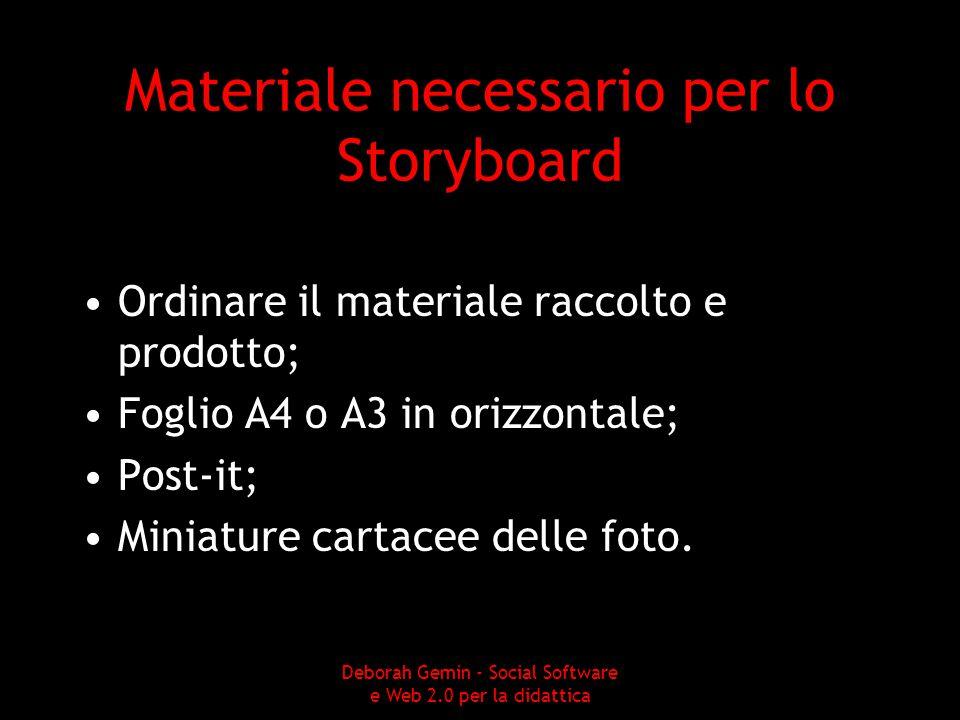 Materiale necessario per lo Storyboard