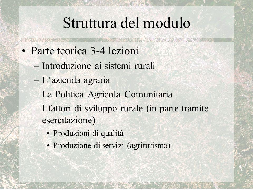 Struttura del modulo Parte teorica 3-4 lezioni