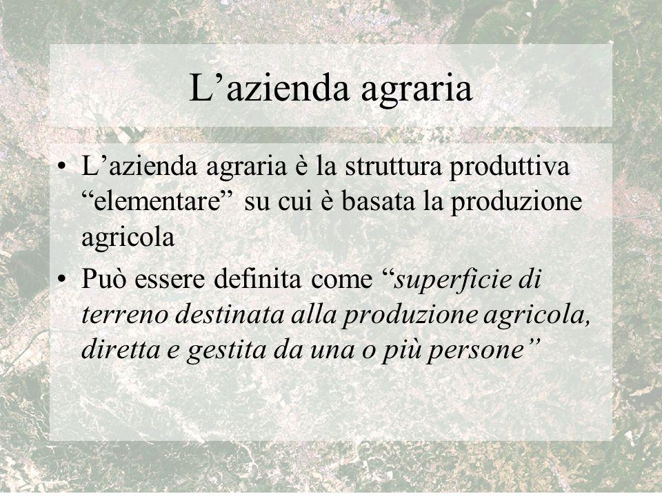 L'azienda agraria L'azienda agraria è la struttura produttiva elementare su cui è basata la produzione agricola.