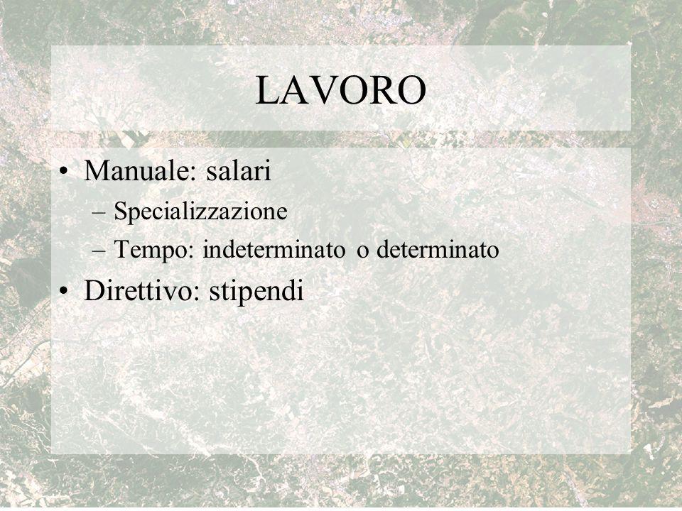 LAVORO Manuale: salari Direttivo: stipendi Specializzazione