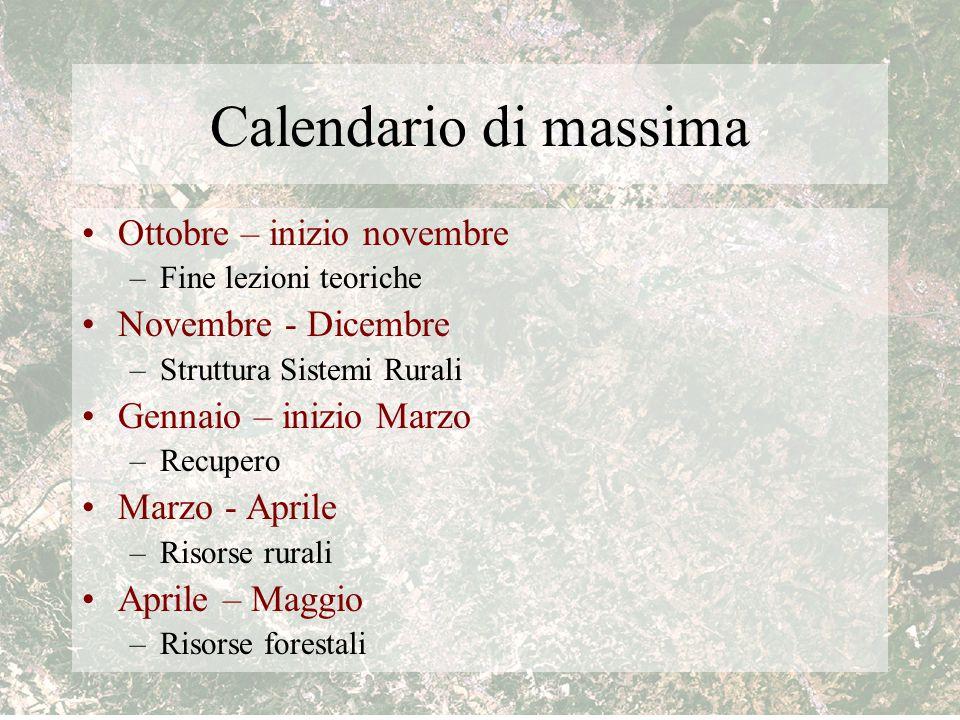 Calendario di massima Ottobre – inizio novembre Novembre - Dicembre