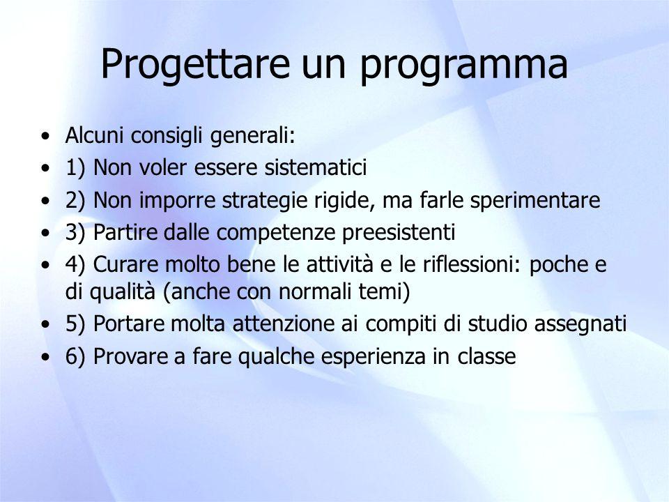 Progettare un programma