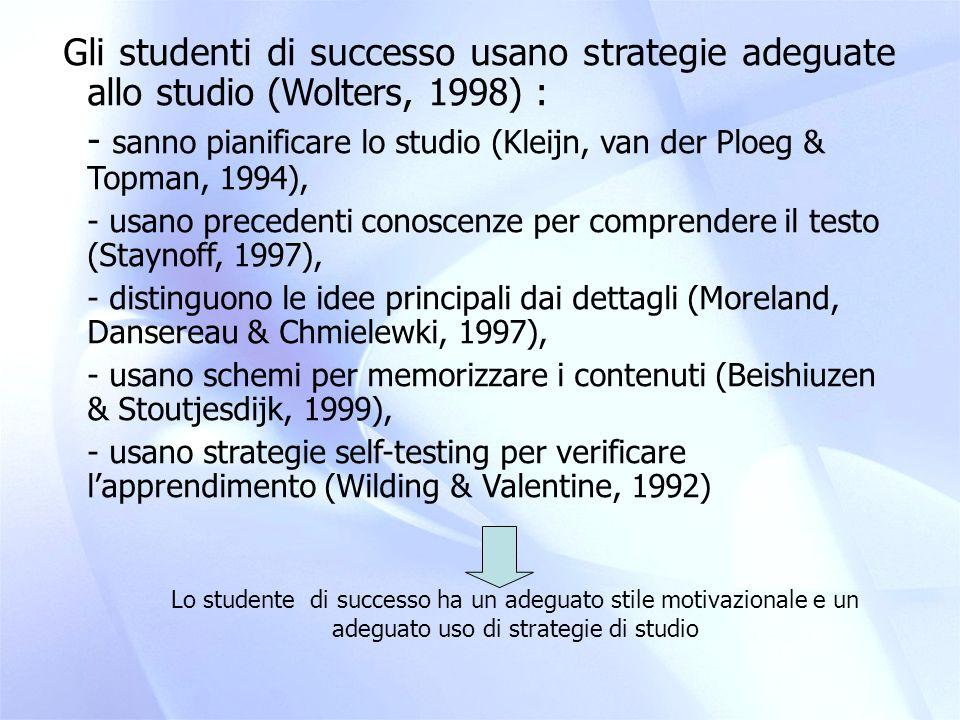 - sanno pianificare lo studio (Kleijn, van der Ploeg & Topman, 1994),