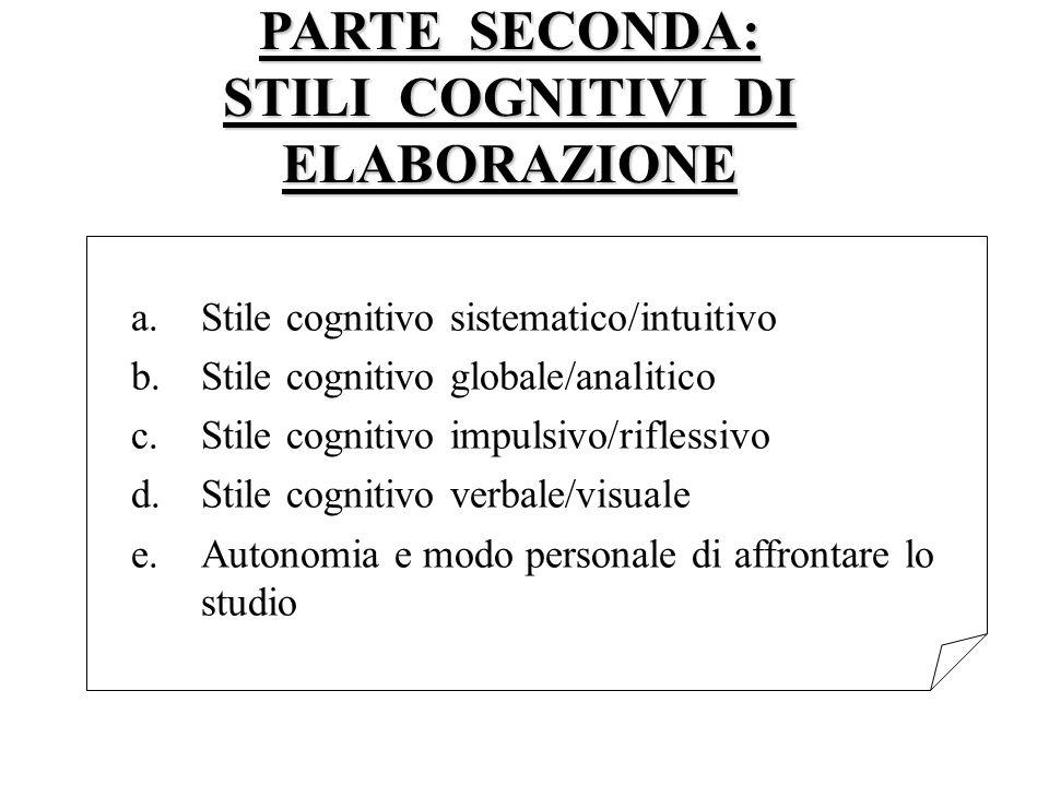 PARTE SECONDA: STILI COGNITIVI DI ELABORAZIONE