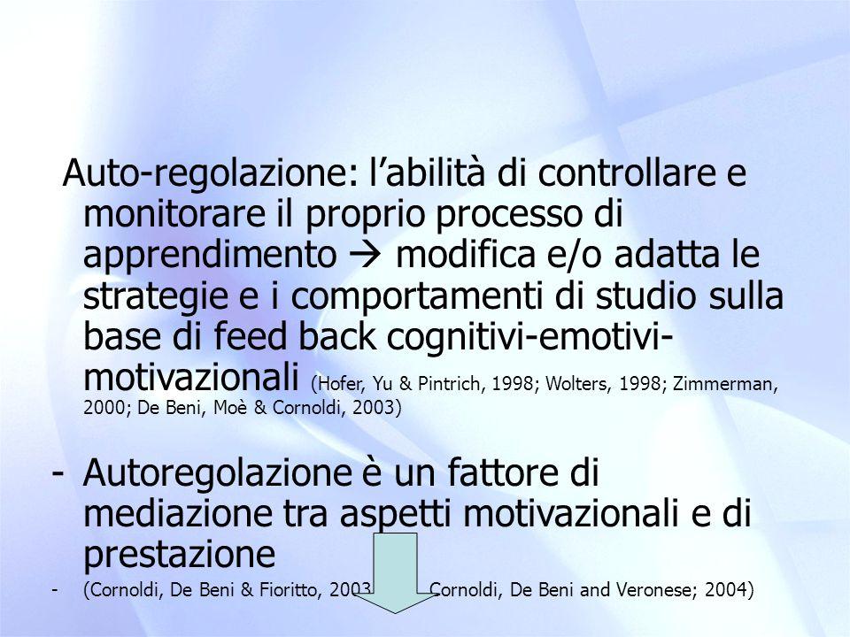 Auto-regolazione: l'abilità di controllare e monitorare il proprio processo di apprendimento  modifica e/o adatta le strategie e i comportamenti di studio sulla base di feed back cognitivi-emotivi- motivazionali (Hofer, Yu & Pintrich, 1998; Wolters, 1998; Zimmerman, 2000; De Beni, Moè & Cornoldi, 2003)