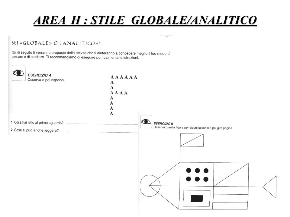 AREA H : STILE GLOBALE/ANALITICO